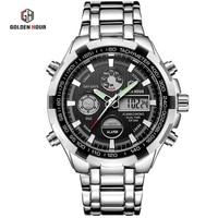 Men's Digital Quartz Clock Full Steel Waterproof New Luxury Brand Men Military Sport Watches Wrist Watch relogio masculino