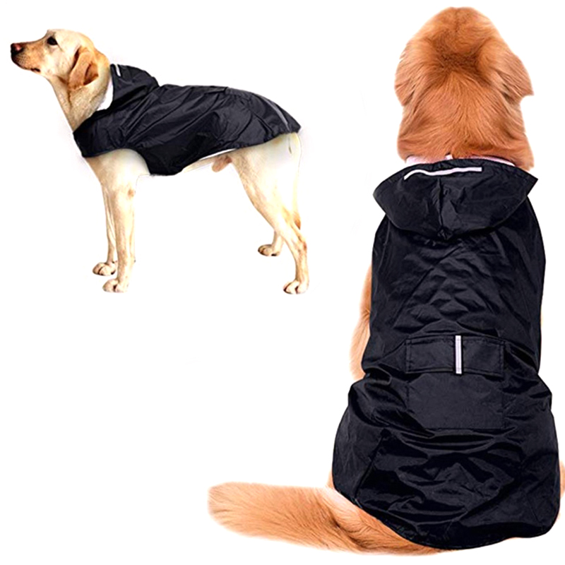 HEYPET Pet Dog Raincoat Reflective Waterproof Clothes Hooded Jumpsuit For Small Big Dogs Rain Cloak Golden Retriever Labrador