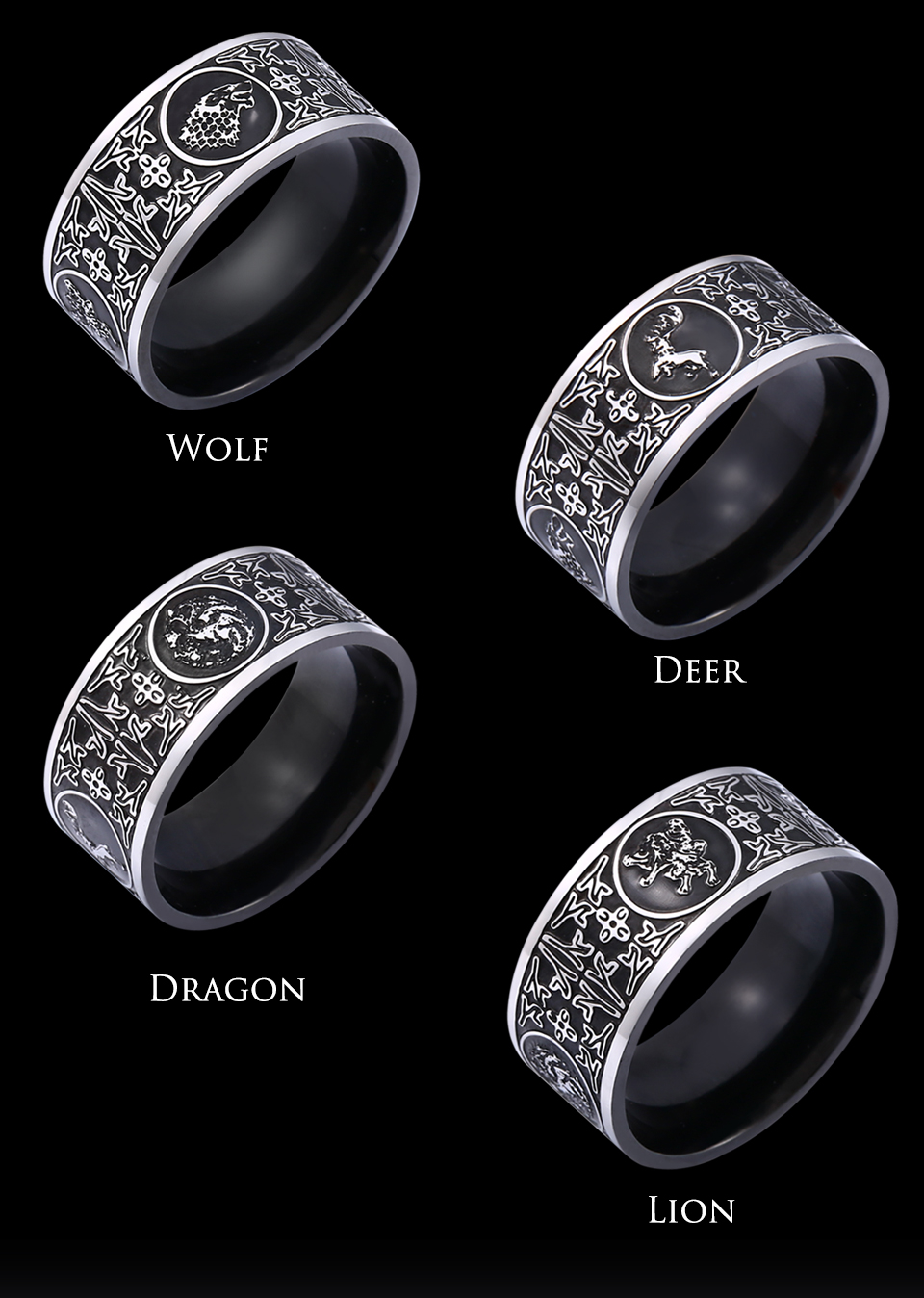 Beier 316L stainless steel game of Thrones Four Totem Men's Rings Laser engraving four family amulets high quality jewelry