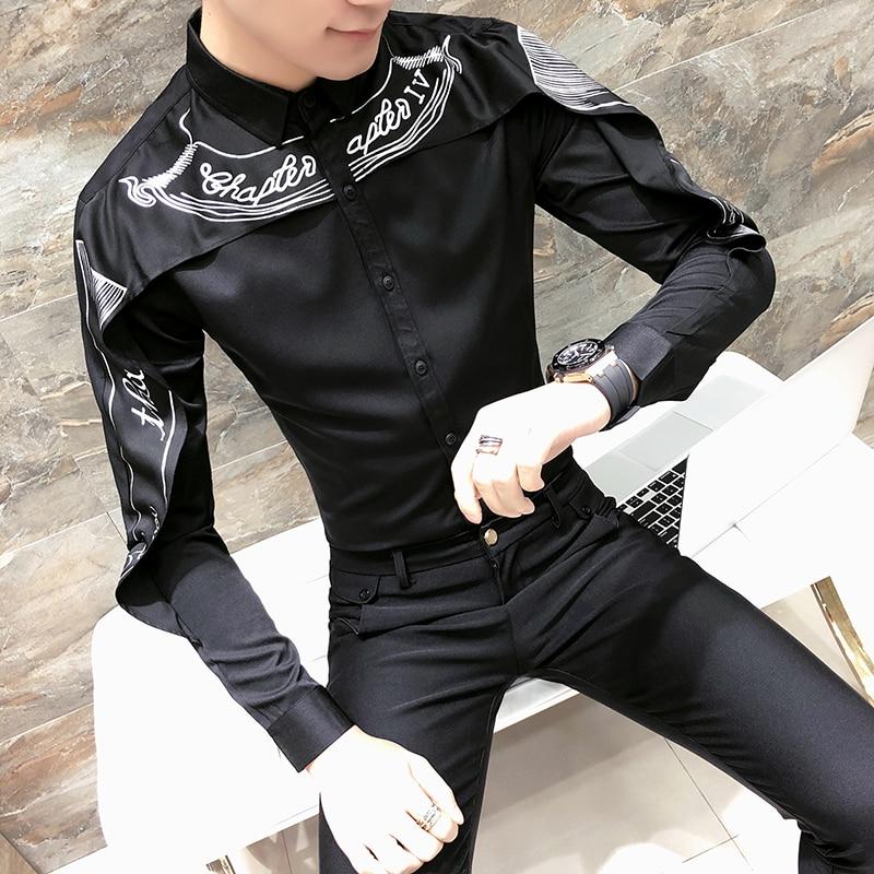 Fashion Shirt Men Shawl Print Slim Fit Mens Long Sleeve Tuxedo Shirts Black White Trendy Nightclub Prom Dress Shirt Male