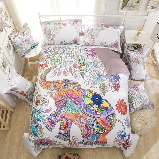 Marvelous 100%Cotton Multicolored Elephant 3D Bedding Set King Queen Size Luxury Bed  Set 4Pcs Duvet