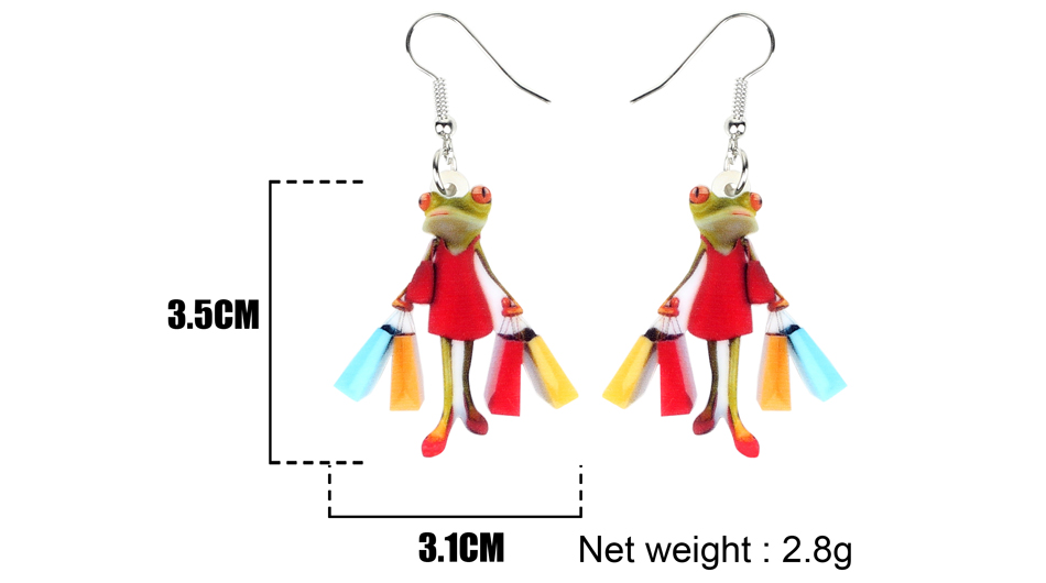 Bonsny Acrylic Shopping Lady Frog Earrings Drop Dangle Novelty Animal Jewelry For Women Girls Ladies Accessories Original Gift