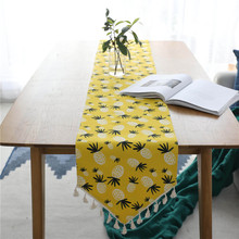 Nodic Modern Pineapple Print Table Runner Flag Solid Simple Tassel TV Cabinet Tea Cover for Wedding Party Home Decor