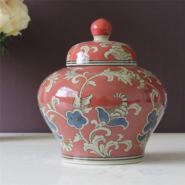 Vase Chinese Ceramic Ginger Jar Antique Porcelain Red Chinese Temple