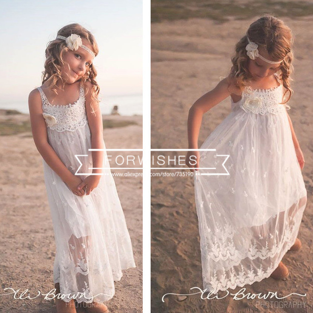 fe7764a31dd Princess Girls Lace White Dress Cute Baby Girl Boho Halter Ruffles Sundress  Holiday Party Dress