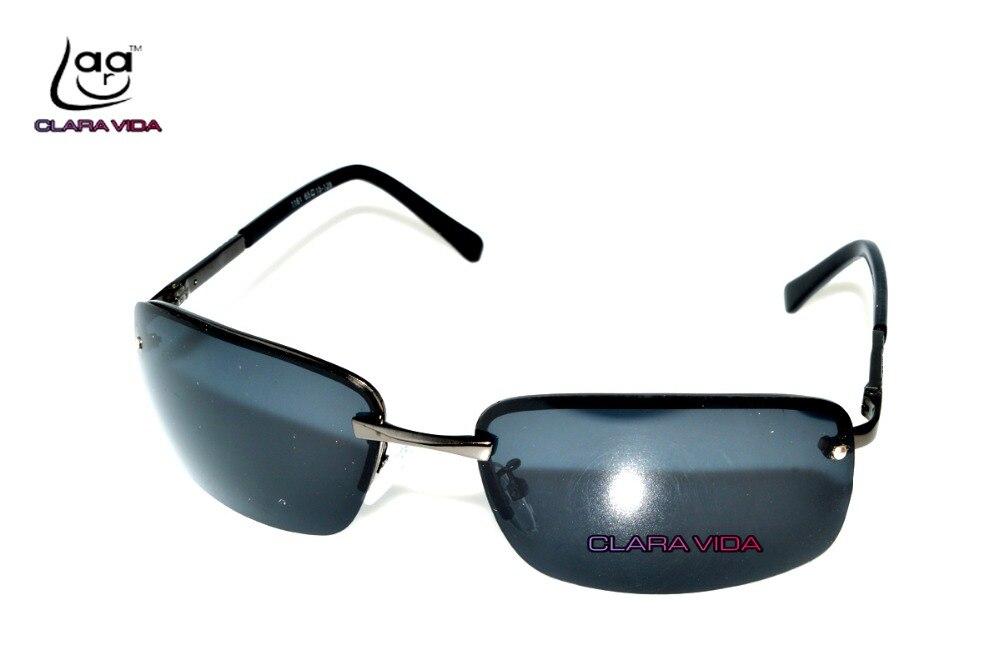 069ae6dbd Clara vida homens sem aro polarizada preto uv400 uv100 % polaroid condução  pesca óculos de sol óculos de sol óculos shades