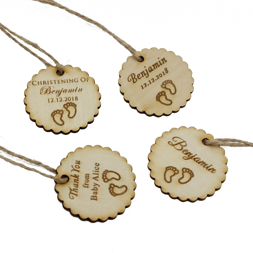 30pcs Personalized Engraved Wooden Thank You Tags Birthday Gift Wedding Tags Baby Shower Christening Decoration Favors