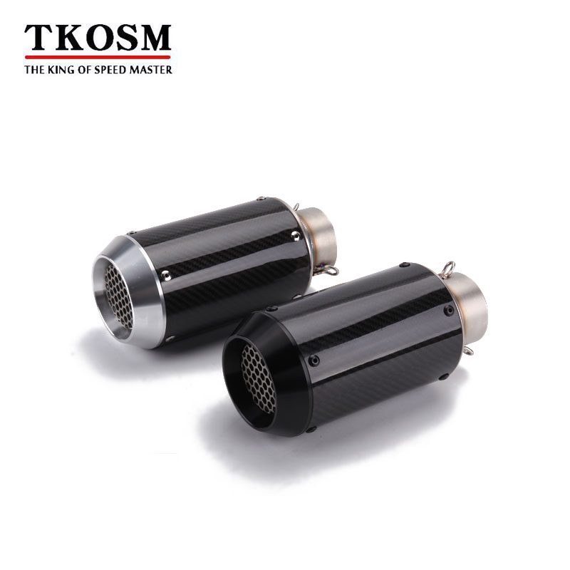 TKOSM Universal Motorcycle <font><b>Exhaust</b></font> Pipe Carbon Fiber CNC <font><b>Exhaust</b></font> for R1 CBR650F MT07 <font><b>S1000R</b></font> Muffler Racing <font><b>Exhaust</b></font> With Sticker image