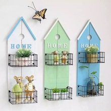 American Pastoral Style Home Letter 2 Box Wooden Wall Rack Flower Vase Storage  Holder Shelf Wall Decorative Hanger & Home Decor