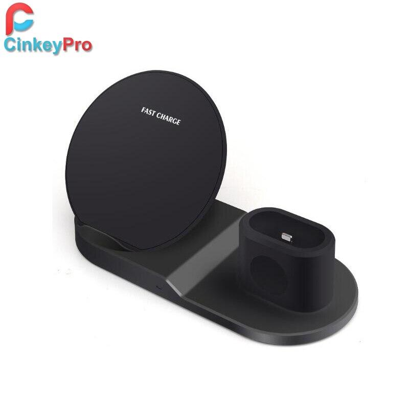 CinkeyPro QI Sans Fil Chargeur De Charge Rapide pour Samsung LG Apple Watch Airpads iPhone 8 X Support de Téléphone Portable de Charge Rapide 2.0