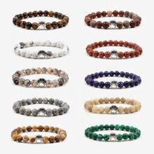 Новинка, 10 цветов, красочные браслеты с бусинами из натурального камня, винтажный Богемский Браслет в виде собачки, кошки, лапы, Подвески, браслет для любимого питомца, ювелирные изделия