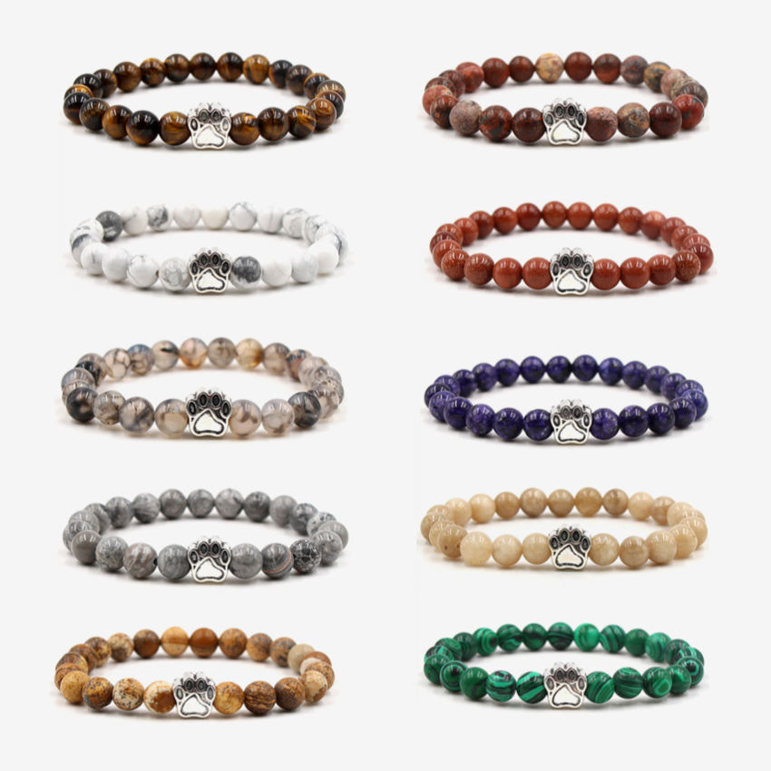 NEW 10 Colors Colourful Natural Stone Beads Bracelets vintage bohemia Dog Cat Footprint Paw Charms Bracelet Pet Lover Jewelry