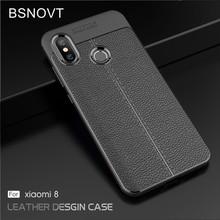 For Xiaomi Mi 8 Case Soft Silicone Luxury Leather Shockproof Anti-knock Cover 6.21 BSNOVT