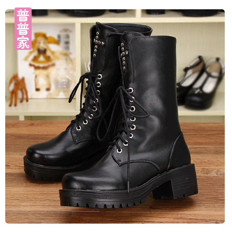 Princess sweet punk shoes medium boots punk wind round head pure color boots super cool tie boots fashion women shoes pu8638 punk style pure color hollow out ring for women