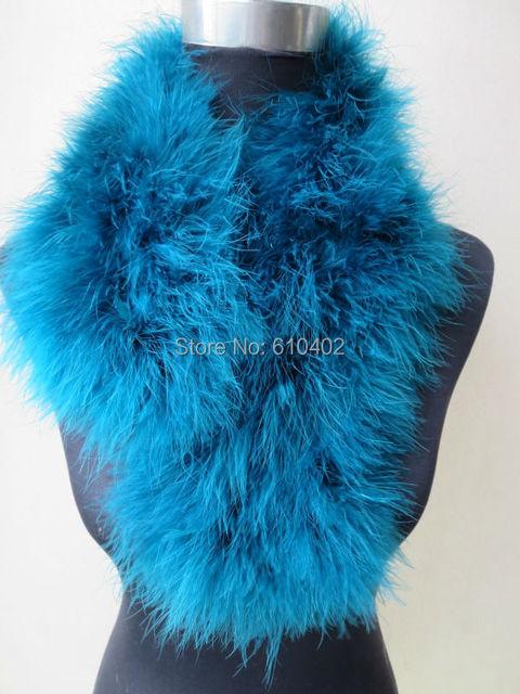 Envío gratis / Real de plumas de avestruz fur Wrap bufanda de moda / / tamaño de 70 cm * 14 cm pavo Real azul