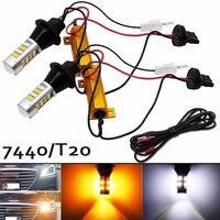 2Pcs 7440 42SMD T20 2835 LED Lights Car Dual Color Car Switchback Reverse Turn Signal Daytime