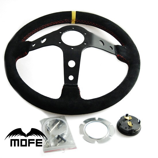 мфэ гонки специальное предложение 350 мм глубокое блюдо замши алюминий оригинальный логотип руль для спортивный автомобиль + рог кнопка