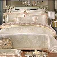 4 6pcs Beige Satin Silk Jacquard Duvet Cover Lace Design Home Textile Bedding Sets Luxury Bedclothes Bed Linen King Queen Size