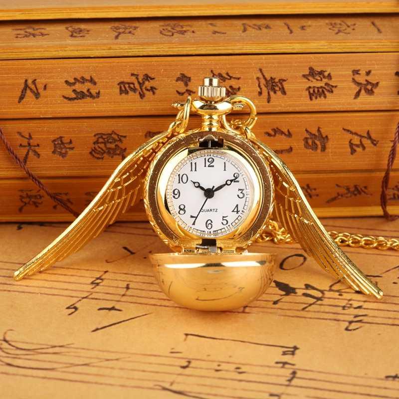 Харри Поттер Золотой снитч Слизерин кварцевые карманные часы Ангел свитер с крыльями медь золото кулон ожерелья Подарочные сувениры
