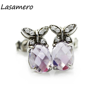 LASAMERO Rings For Women 1 25CT Round Cut Natural Diamond Earrings 18k White Gold Engagement Wedding