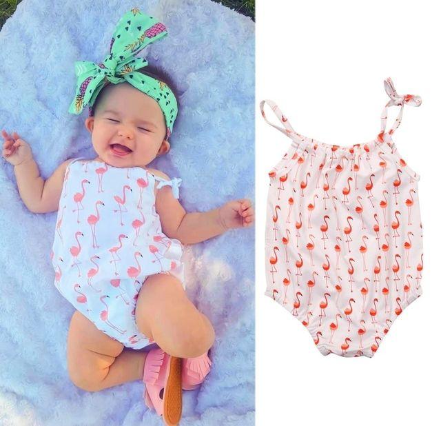 2017 Summer Adorable Newborn Toddler Baby Girl swan Romper Sleeveless Belt Jumpsuit Clothes 0-18M