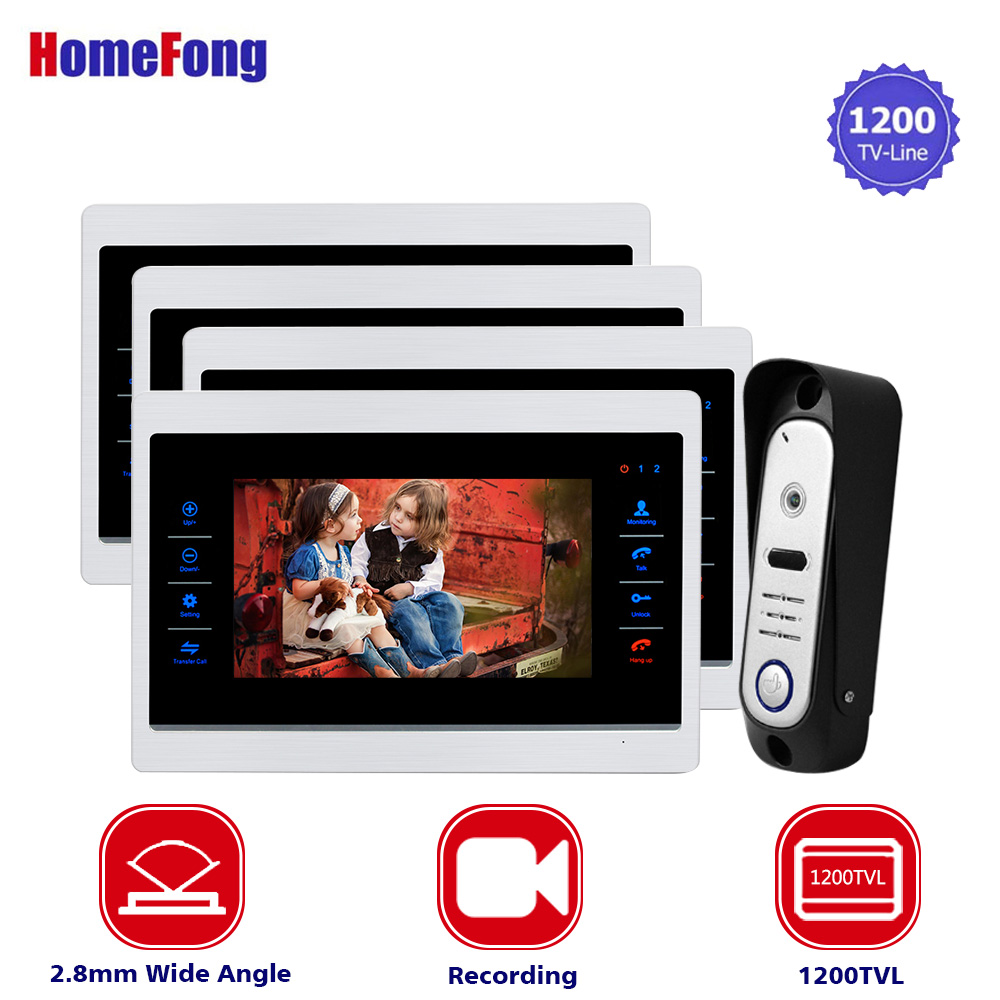 Homefong 7 Inch Video Intercom Camera Door Phone Entry System 1200TVL Wide Angle Metal 4 Monitors 1 Outdoor Panel Station Homefong 7 Inch Video Intercom Camera Door Phone Entry System 1200TVL Wide Angle Metal 4 Monitors 1 Outdoor Panel Station