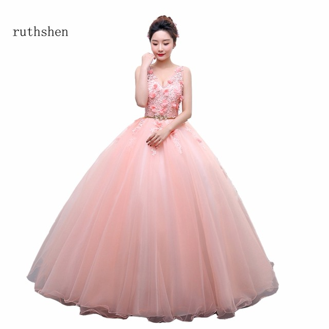 dc051ba82f Ruthshen Rosa dulce 16 Vestidos de quinceañera barato sexy V Masajeadores  de cuello flores con cuentas