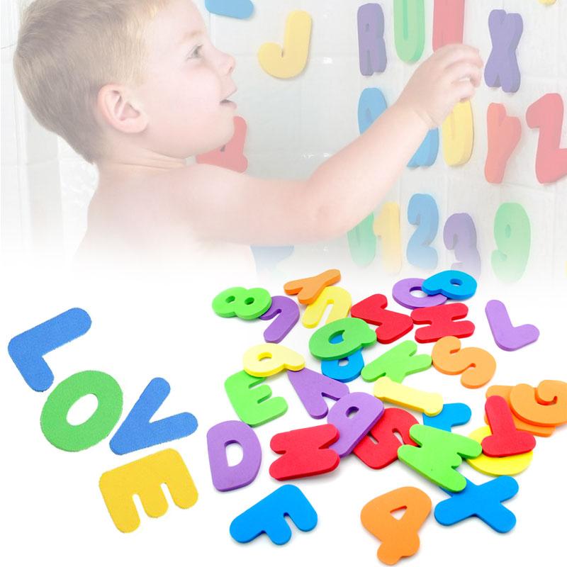 36Pcs Montessori Toys Alphabet Learning Toy Tub Bathroom ...