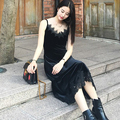 [TWOTINSTYLE] Весна Бархат V Шеи Кружева Высокая Талия Длинные Спагетти Ремень Dress Женщины Новый