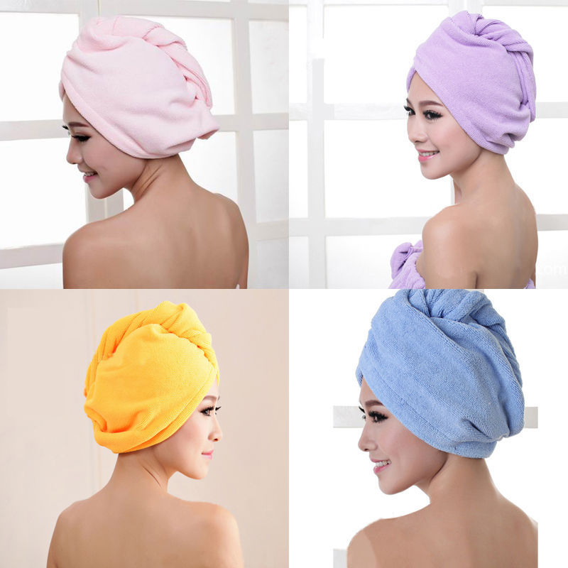 1 pcs Microfiber Bath Towel Cap With Secured Button For Quick Hair Drying 3