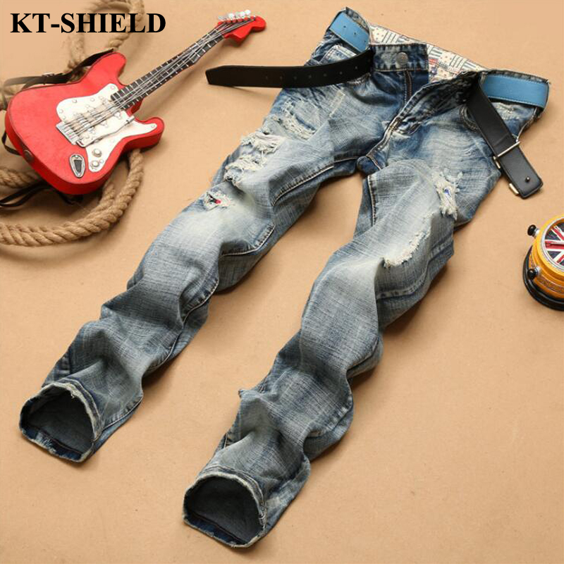 Fashion Mens Biker Jeans Pants Vintage Denim Male Brand Designer Ripped Jeans Homme Slim fit Men's Trousers High Quality Cotton 2017 fashion patch jeans men slim straight denim jeans ripped trousers new famous brand biker jeans logo mens zipper jeans 604