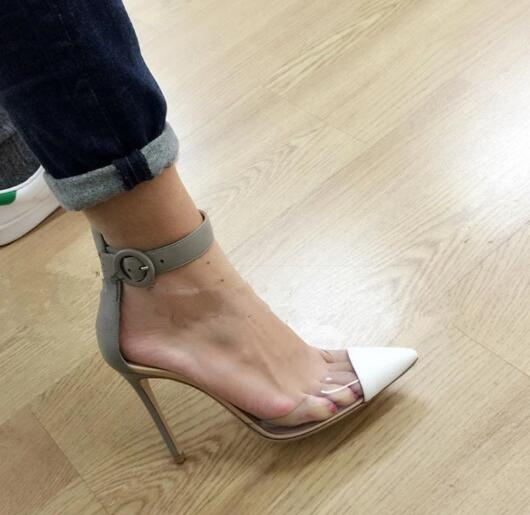 New fashion high heel shoes for woman 2017 sexy pointed toe ankle strap pumps mixed colors dress heels PVC patchwork shoes пуф patchwork colors