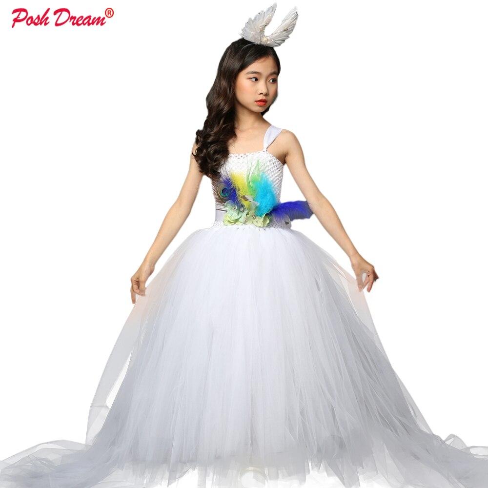 Chic rêve paon fleur filles robe pour mariage soirée enfants princesse fête Pageant longue robe enfants robes pour les filles
