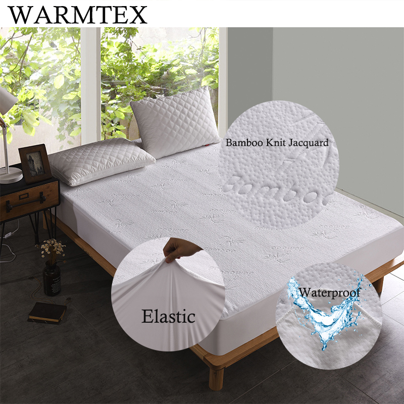WARMTEX Bamboo Knit Jacquard Waterproof Mattress Protector Anti-mite Bed Mattress Cover 100% Waterproof W014