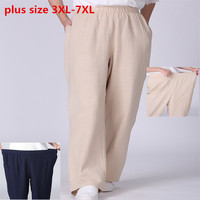 New women spring summer autumn casual loose cotton linen long pants high quality Female home lounge flax pants plus size 3xl 7XL