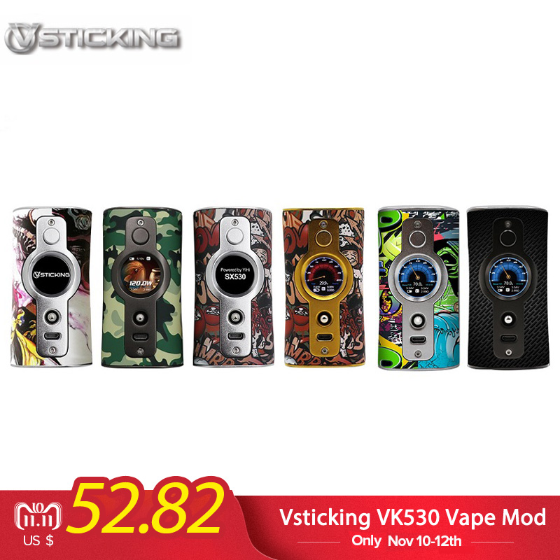 Original Vsticking VK530 Vape 200W TC Box Mod Dual 18650 Battery Graffiti E Cigs Vape Mod Vaporizer VS Hugo Vapor Rader Mage original 218w hugo vapor rader mage tc box mod with nylon fibre frame powered by dual 18650 battery vape box mod vs storm230 mod