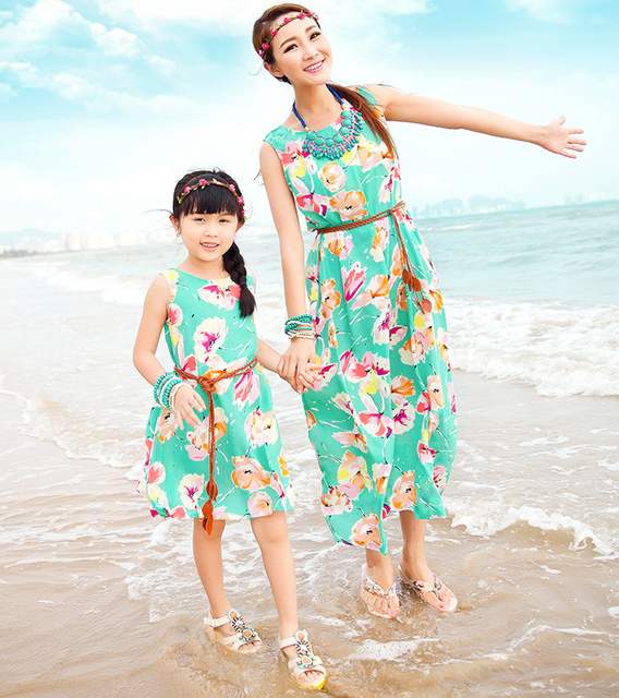 Mother Daughter Matching Dresses with Belt 2017 Summer Long Maxi Dresses Family Look Girl and ...