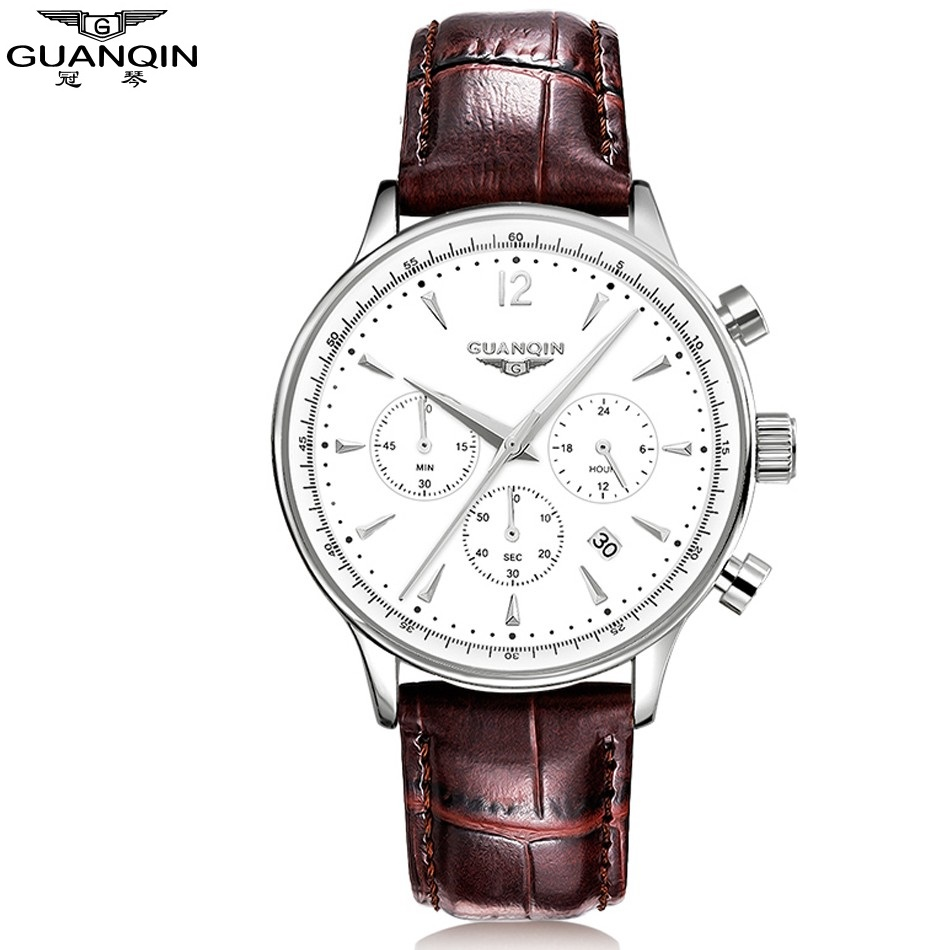 ФОТО NEW GUANQIN Wristwatch Wrist Watch Men 2017 Top Brand Luxury Famous Male Clock Leather Quartz Watch Man relogio kol saati