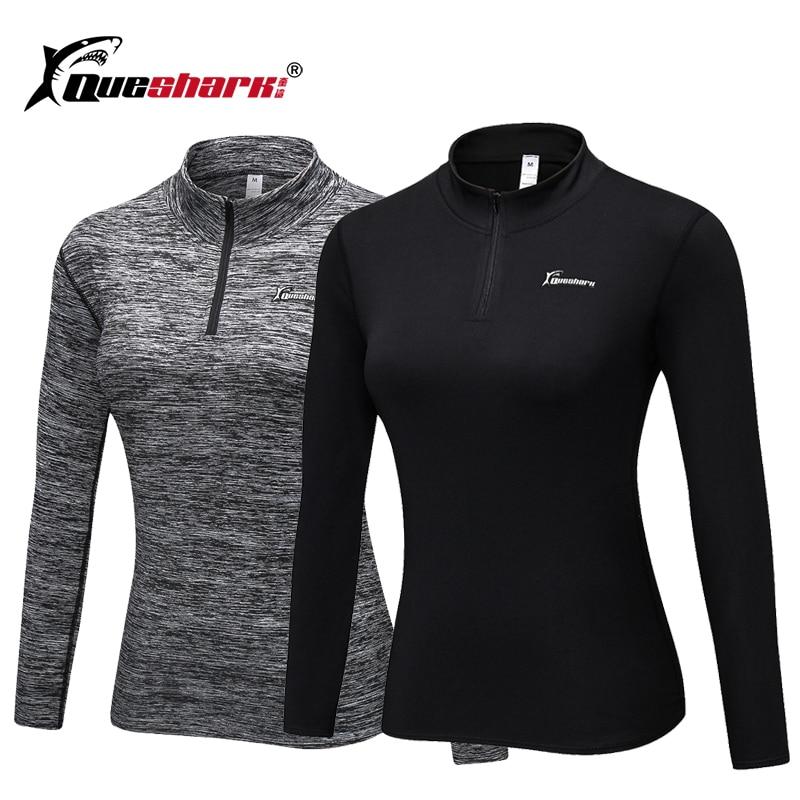 QUESHARK Running Jacket Sportswear Sweatshirts Tight Long-Sleeve Fitness Yoga Warm Winter
