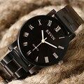 KEVIN Cinta Banda de Aço Inoxidável Preto Numerais Romanos Quartz Relógio de Pulso Na Moda Das Senhoras Das Mulheres de Negócios Elegante Nova Chegada