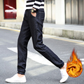 2016 New Fashion Men's High Quality Casual Skinny Warm Fleece Jeans Men Slim Fit Pencil Pants Solid Color Leisure Thick Trousers