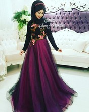 Elegant Black hijab Muslim Caftan Evening Dress With Long Sleeves embroidered High Neck Saudi Arabia Prom