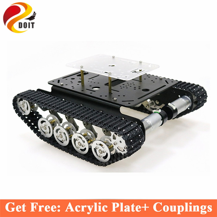 Shock Absorber Metal Tank Chassis Frame with Robotic Arm interface holes for Modification, DIY, Tank model TS100