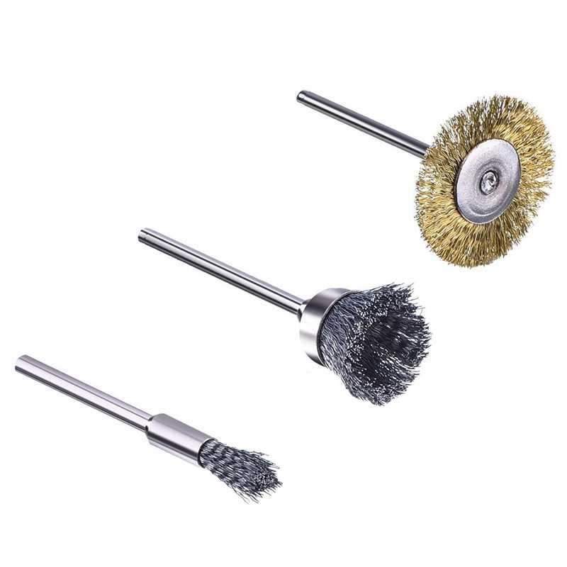 cepillo de alambre de acero juego de ruedas de pulido para herramienta rotativa broca 3 modos plateado cepillo de alambre de acero Juego de cepillos de alambre BE-TOOL