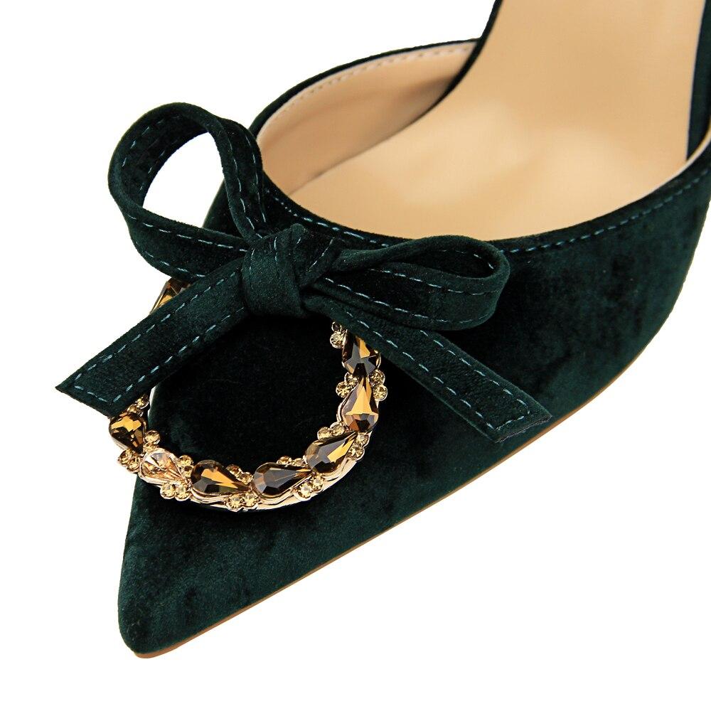 Hauts Mode Américain Peu Profonde Daim kaki Creux vert Sandales Boucle Style En Européen Métal Bouche Et Tempérament Noir De Strass Talons EYxxCvwq4