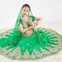 Sarees India Traditional Children Costume Ethnic Style Performance Girl Dance Green Suits top+skirt+scarf+pants