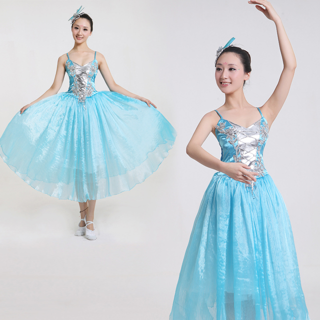 16c0c67fd745 New Chinese Folk Dance Dress Women Long Modern Dance Wear Ancient Chinese  National Costume Female Stage