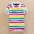 Stripe Polo Summer Shirt Women short-sleeve Plus Size  Polo women's Slim Loose Plus Size turn-down Collar Shirt Embroidery