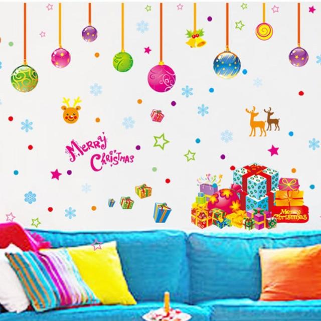 Новый Год дает украшения Дома для детская комната спальня стены стикеры Рождественская атмосфера, оформление окон зеркало наклейки