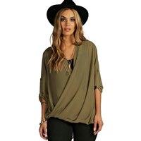 XXXL 4XL 5XL 6XL 7XL Long Sleeve Wrap Blouses Women Army Green V Neck Formal Shirts